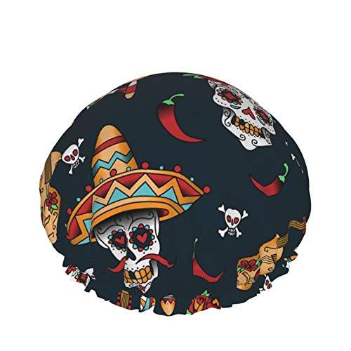 Gorro de ducha impermeable de doble capa Sombrero de baño para mujeres Layies para tratamiento de spa, peluquería y uso doméstico Calaveras de azúcar mexicanas Chile
