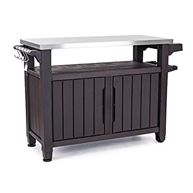 Keter Unity XL Indoor Outdoor Entertainment BBQ Storage Table/Prep Station/Serving Cart with Metal Top