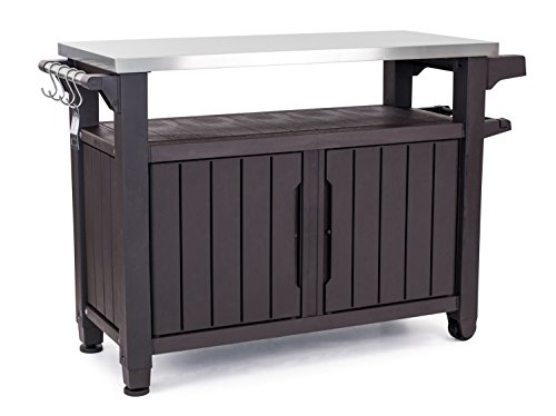 Keter Unity XL Portable Outdoor Table and Storage Cabinet with Hooks for Grill Accessories-Stainless...