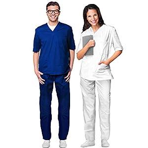 AIESI® Uniforme Sanitario Hombre Mujer de algodón 100% sanforizado Pantalones y Casaca con Cuello en V # Made in Italy