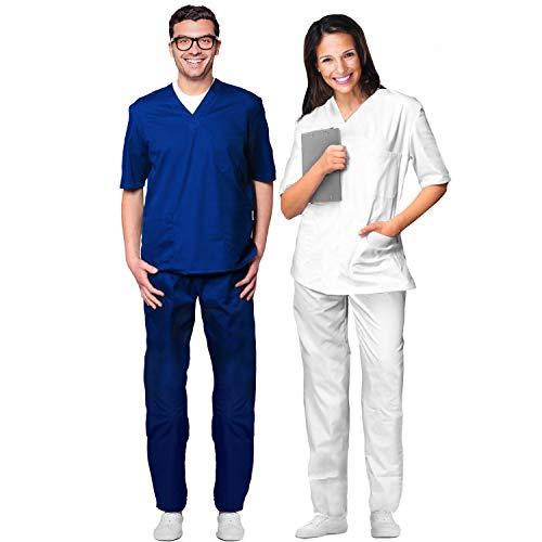 AIESI® Divisa Sanitaria uomo donna in cotone 100% sanforizzato pantaloni e casacca scollo a V # Made in Italy # taglia XXL BIANCO