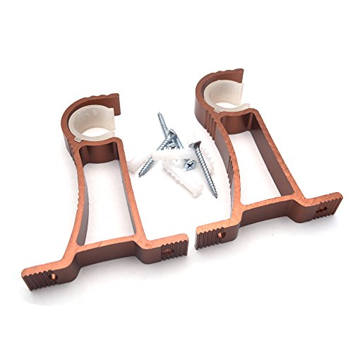 Sydien 0.4 Ft Length Single Curtain Rod Brackets Side-Mounted for Drapery Curtain,Copper Color