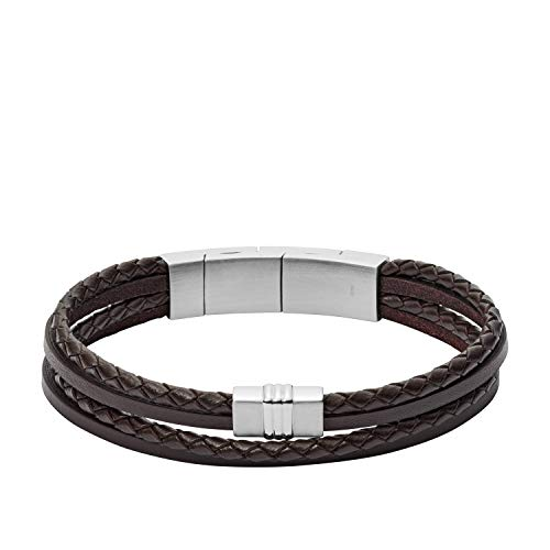Fossil Men's Brown Multi-Strand Braided Leather Bracelet, One Size