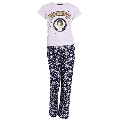 Fantastic Beasts And Where To Find Them BeigeNavy Blue Ladies Pyjama Set S
