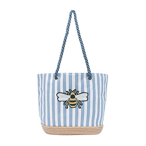 Joules Tenby, Bolsa de playa para Mujer, Color crema y gris, Large
