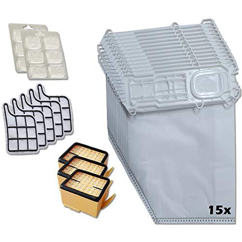35 piezas | 15 bolsas de aspiradora + 3 filtros higiénicos + 5 filtros de protección del motor + 12 ambientadores adecuados para Vorwerk Kobold VK 135 136 135SC, VK135 - VK136, VK135 / VK136 / VK135SC
