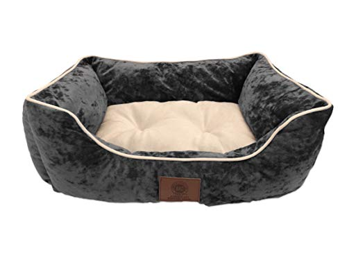 "AKC Deluxe Extra Large Pet Cuddler Dog Beds, 28""x20""x10"", High Bolster Walls, Ultra Soft Tufted Sleep Surface, Gray"