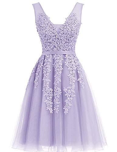 Bridesmaid DressTulle Lace Appliques Junior's Formal Cocktail Homecoming Dresses Lavender US12