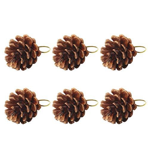VORCOOL 6 UNIDS Real Natural Conos de Pino Seco Árbol de Navidad Adornos de Piña Colgando Adornos de Navidad del Árbol Adornos Suministros