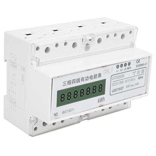 Medidor de energía trifásico, corriente nominal 3 × 10 (40) A Medidor de energía de riel DIN, aspecto hermoso Alta precisión para medir energía eléctrica en el hogar