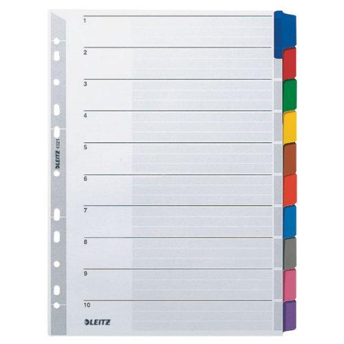 Leitz Register für A4, Deckblatt und 10 Trennblätter, Lochrand und bunte Taben folienverstärkt (Mylar), Grau, Karton, 43210000