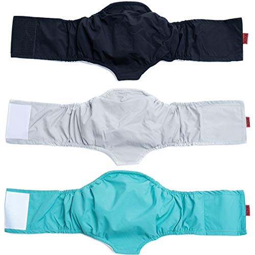 ACDOK Reusable Washable Male Dog Diapers (Pack of 3) - Belly Bands for Male Dogs Wraps