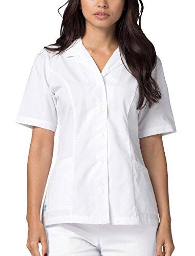 Adar Casaca médica para Mujer - Casaca Sanitaria de Cuello Alto con Solapa - 605 - White - XS