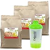 Cellavita Pro Colon Vita'Lebenszentrum Darm' Kur - Coctelera con semillas de pulga, proteína de guisantes, polvo de Cassia, etc. Dosis alta y vegana: 1 lata = 420 g = 1 semana de tratamiento.