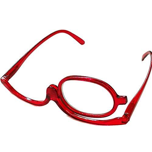 Schöne modische Schminkbrille Damen Frauen für 1 Auge Schminken in drei Farben mit Federscharnier (Rot, 1.5)
