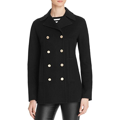 Theory Womens Overby DF Wool Button Up Pea Coat Black S