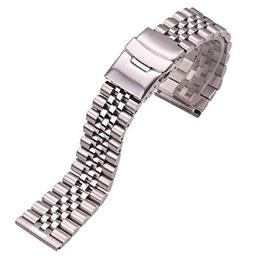 ZXF Correa Reloj, Bandas de Acero Inoxidable Pulsera de Las Mujeres de los Hombres de 18 mm 20 mm 22 mm 24 mm Plata Recta Final de la Banda de la Correa de Accesorios