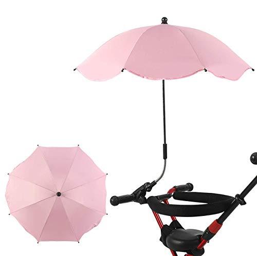 AMhuui Kinderwagen Sonnenschutz, Universal Pram Regenschirm Abnehmbare Schatten Handwerk Einstellbare Sonnenschutz Uv für Kinderwagen Sonnenschirm mit Clamp und Befestigungs