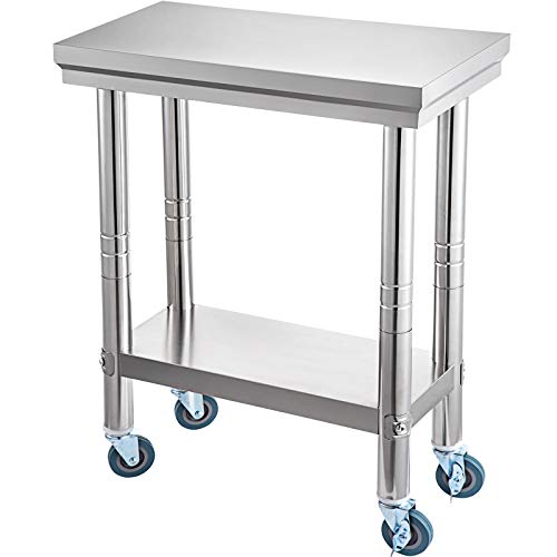 VEVOR Werkbank 300 x 600 x 70 mm Esswerkbank aus Edelstahl mit einem Fassungsvermögen von 350 kg, Werkbank für die Zubereitung von Speisen mit übermäßigem Platzangebot, kommerzielle Werkbank für die K