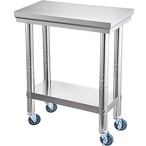 VEV Mesa de Preparación de Comida de Acero Inoxidable 30 x 60 x 80 cm Tabla de Cocina Profesional Capacidad de Carga 750 kg