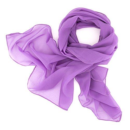 Dolce Abbraccio Damen Schal Stola Halstuch Tuch aus Chiffon für Frühling Sommer Ganzjährig Flieder Violett
