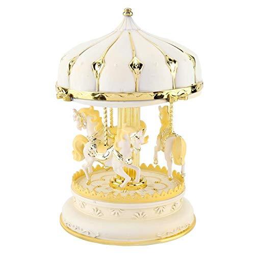 Fditt Regalo Romántico del Aniversario de los Niños del Cumpleaños de la Caja de Música del Carrusel de Tres Caballos del Plástico(Dorado)