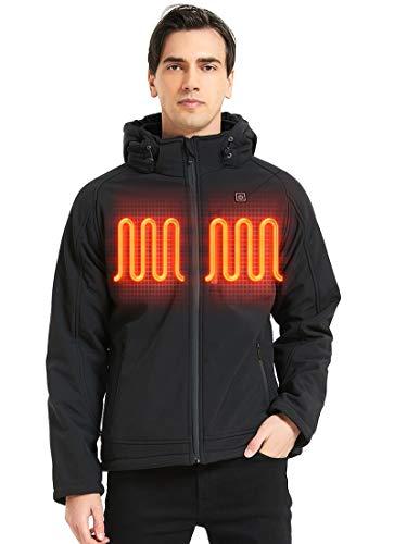 MYHEAT MHMan's Soft Shell Heated Jacket andDetachable Hood,with7.4V Battery 8-10