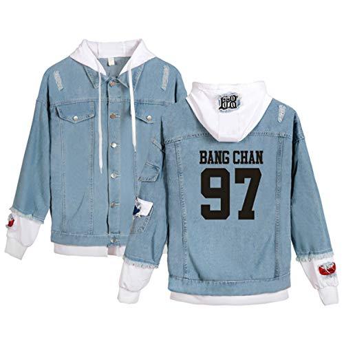 Stray Kids Yellow Wood Veste Manteaux Outwear Sweat à Capuche décontracté imprimé à Manches Longues Minho Jisung Woojin Changbin Felix (8,L)