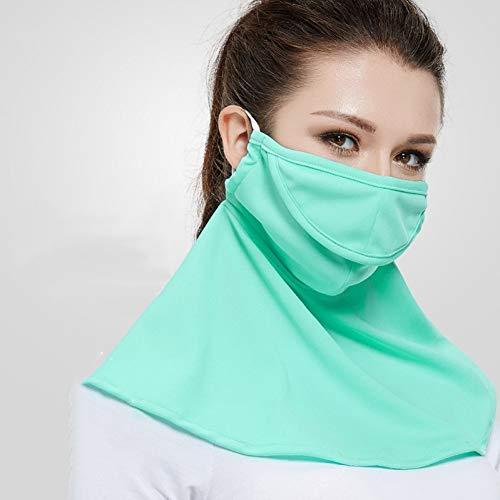 MKDASFD Mascaras Protector Solar Mascarilla Verde Femenino Transpirable a Prueba de Polvo Máscara Anti-Ultravioleta de Verano Sección Delgada Lavado y Ciclismo Conducción Protección de Cuello
