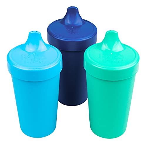 Re-Play Made in USA 3pk - 10 oz. No Spill Sippy Cups for Baby, Toddler, and Child Feeding in Sky Blue, Navy, Aqua   Made from Eco Friendly Recycled Milk Jugs - Virtually Indestructible   True Blue