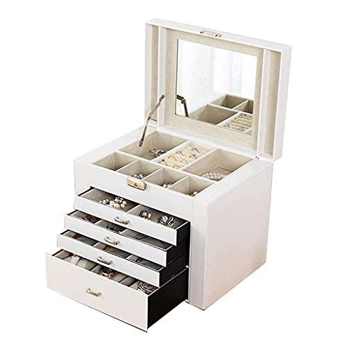 Cajas de reloj para hombre, caja de joyería grande de 5 capas, ideal para collares, pendientes, gafas de sol, pulseras, relojes, decoración blanca