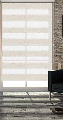 Gardinenbox Doppelrollo Duo Rollo Mini, 110x220 (BxH) cm, Natur, Seitenzugrollo Kettenzugrollo Jalousie für einfache Wand- und Fenstermontage, incl. Pendelsicherung, 62300