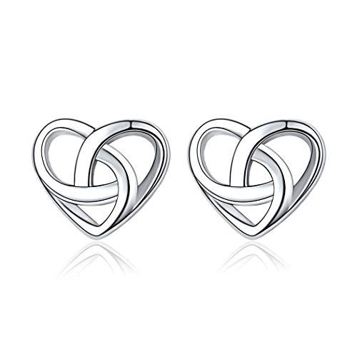 Trinity Celtic Knot Stud Earrings for Women 925 Sterling Silver Irish Small Heart Earring Jewelry Valentine's Day Bridesmaid Gift