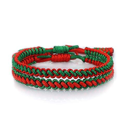 FEIHUI Pulsera Tejida,2 Uds Hecho A Mano Trenzado Rojo Verde Cuerda Ajustable Tibetano Budista Pulseras De Amuleto Regalo De La Amistad De La Suerte para Niño Niña Parejas Hombres Mujeres