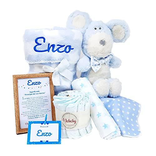 My Mouse de Mababy - Canastilla Recién Nacido Personalizada - Cesta de Regalo para Bebé - Cesta Regalo Recién nacido - Regalo Babyshower - Cesta Bebé Personalizada (Azul)