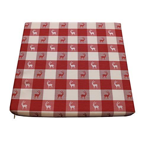 SeGaTeX home fashion Sitzkissen Hirsch rot-weiß kariert komplett mit Schaumstoff-Füllung 35 x 38 x 3,5 cm aus der Landhausserie Karo mit Hirsch