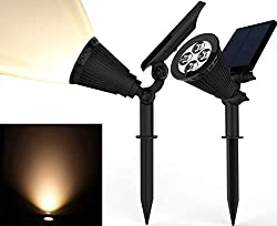 commercial Solar Spotlight, Magictec Warm Light 2-in-1 Adjustable 4-LED Wall / Landscape Solar Light… warm solar lights
