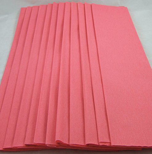 12 Rosa Salmon. Pliegues de papel Crepe 50cm x 150cm. 14 colores vibrantes siempre en stock