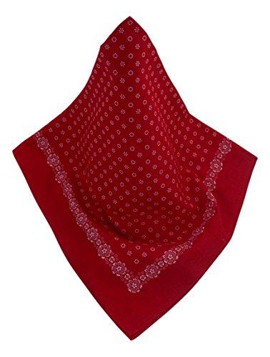 Rotes Nickituch mit Blüten und Blumen-Bordüre | Bandana aus 100% Baumwolle | 70 x 70 cm | Halstuch | Teichmann