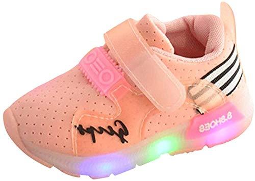 Zapatilla de Deporte, K-youth® Zapatos Deportivos Otoñales Luces LED Zapatillas Deportivas Niños Calzado Infantil Zapatos para Bebe Zapato de Malla Antideslizante (Longitud: 13CM, Rosa)