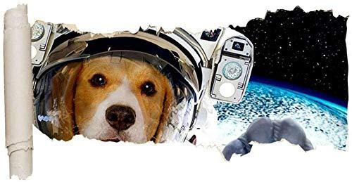 UYEDSR Pegatinas de Pared Etiqueta de la Pared Hund Astronaut Space Ripped Hole Ripped Hole Chicas Niños 60x90cm