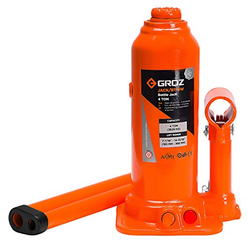 GROZ 4-Ton Hydraulic Bottle Jack | Load Limiting Device | Leak Proof Welded Construction | 2-Piece Lifting Lever Rod | Conforms to ASME PALD 2009 (61711)