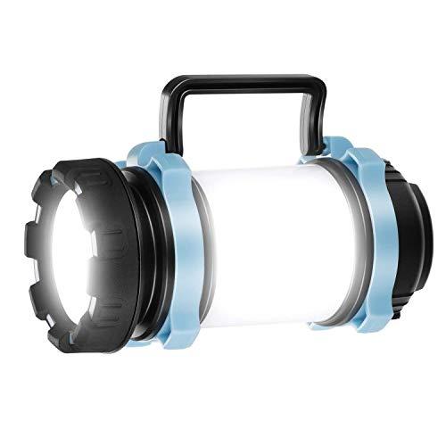 Homealexa Handscheinwerfer LED Camping Laterne wiederaufladbare Superhell Campinglampe 4400mah, dimmbare Taschenlampe mit Warnlicht, geeignet für Camping, Angeln, Wandern, Notfall (blau)