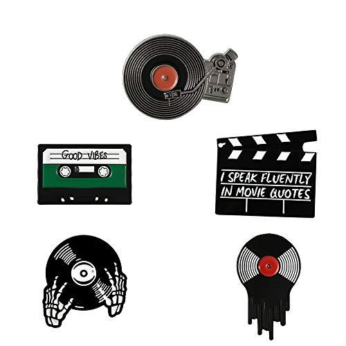 KOOBOOK 5Pcs Punk Music Lovers Enamel Pin Lapel Pins Creative Vintage Good Vibes Tape DJ Vinyl Record Player Badges Brooches