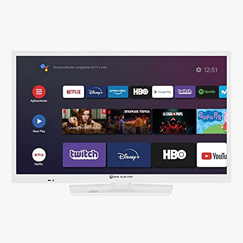EAS Electric   E24AN70W   Televisor Blanco   Televisión 24 Pulgadas   Smart TV   LED (ELED)   HD Ready 1366 x 768 16:9   DVB-T T2 C S S2 HEVC   WiFi   Android TV   Google Cast   USB 2   HDMI 3