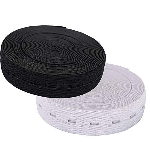 WedDecor 20mm Brede Knop Gat Bands Spool Naaiband Platte Elastische Koord Stretchable Tape voor Broek Taillebands, Moederschap Kleding, Breien, Crafting, 11 Yards, 2 Pack