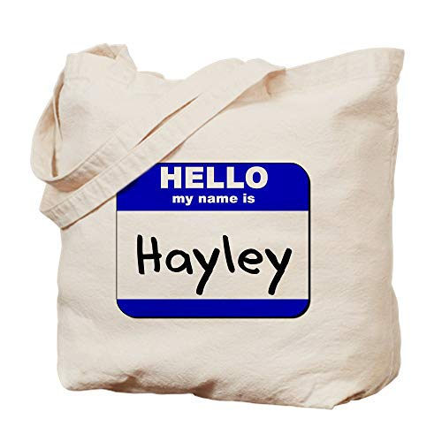 CafePress Hello My Name Is Hayley Natural Canvas Tote Bag, Reusable Shopping Bag