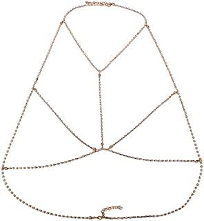 FemNmas Cubic Zircon Sexy Multiple Layered Gold Tone Body Chain Adjustable Harness with Fine Chain Multirow Necklace for W...