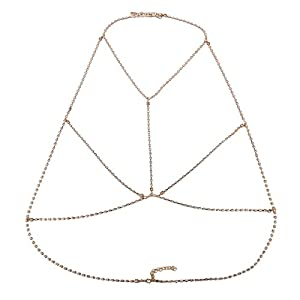 FemNmas Cubic Zircon Sexy Multiple Layered Gold Tone Body Chain Adjustable Harness with Fine Chain Multirow Necklace for Women