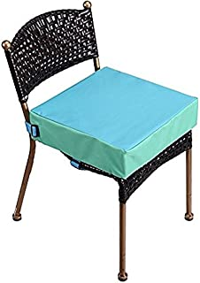 Toddler Booster Seat for Dining Table, Double Straps Washable Portable Thick Chair Increasing Cushion for Baby Kids (Blue)